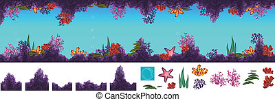 Underwater cave - Vector illustration of underwater cave ...