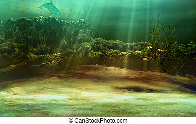 underwater - an underwater landscape with fishes and dolphin