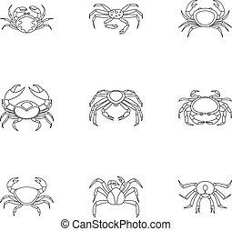 Underwater crab icons set, outline style - Underwater crab...