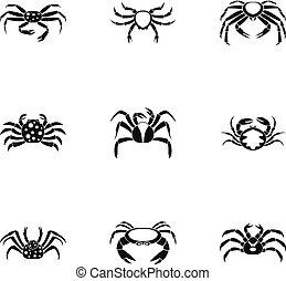 Underwater crab icons set, simple style - Underwater crab...