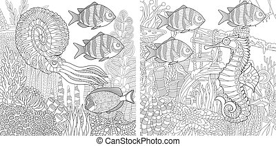 Underwater creatures. Coloring pages