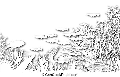 Underwater cutout - Illustration of white cutout coral and...
