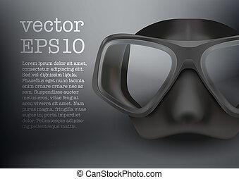 Underwater diving scuba mask vector