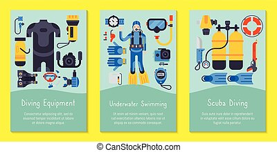 Underwater diving sport cards templates vector illustration. Water diving activity scuba dive equipment. Active swimming tourism tools adventure. Snorkeling recreation concept.