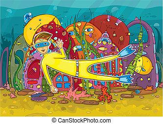 underwater, einwohner, taucher