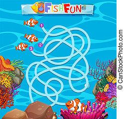 Underwater fish maze game template illustration