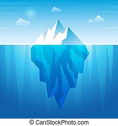 Underwater iceberg. Flowing ice rock in ocean water frozen mountain recent vector background