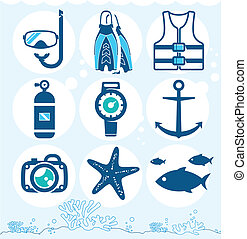 Underwater icons collection on the coral background