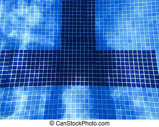 Underwater in a freshly cleaned pool