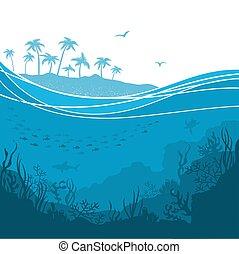 underwater, island., meer, tropische , hintergrund, wellen