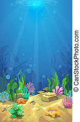 Underwater landscape and the undersea world vetical mobile banner or background