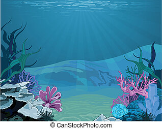 Underwater landscape - Illustration background of an...