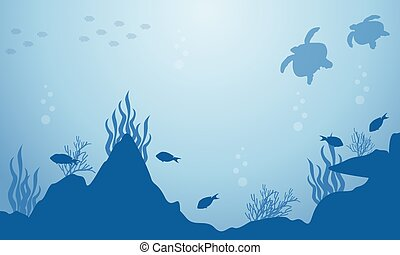 Underwater Landscape Of Turtle And Fish