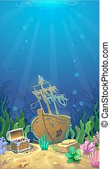 Underwater landscape. Pirate chest with treasures -...