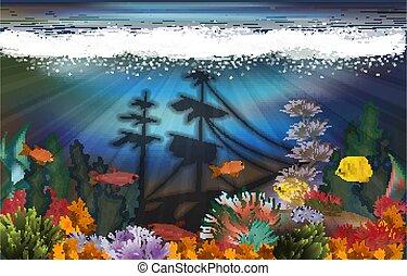 Underwater landscape with sunken ship background, vector illustration