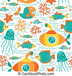 underwater life-02 - Seamless pattern with sea animals....
