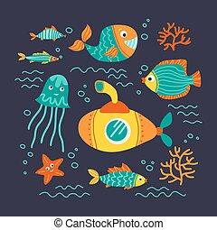 underwater life-03 - Sea animals isolated on dark...