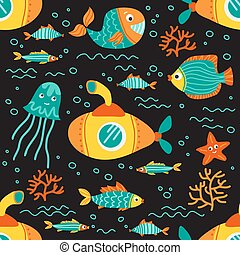 underwater life-04 - Seamless pattern with sea animals....