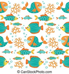 underwater life-07 - Seamless pattern with sea animals....