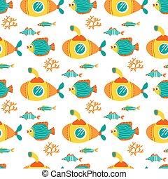 underwater life-09 - Seamless pattern with yellow submarines...