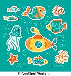 underwater life-16 - Sea animals isolated on blue...