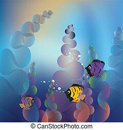 Underwater Life - Abstract cartoon underwater background...