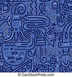 Underwater Life Blue Pattern - Vector underwater outline...