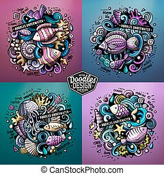 Underwater life cartoon vector doodle illustrations -...