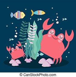 underwater life crabs