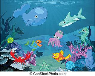 Underwater life - Illustration background of an underwater ...