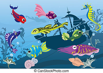 Underwater life in sea, colorful fishes and cuttlefish