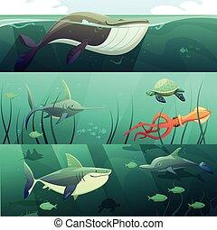 Underwater Life  Retro Cartoon Banners Set