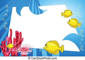 Underwater Life - Tropical underwater scene with white space...