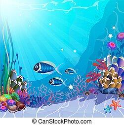 Underwater Life - Underwater landscape with exotic plants...