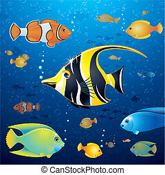 Underwater Life Vector - Underwater Background with Colorful...