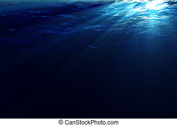 Underwater Light Rays - Beams of sunlight penetrate and...
