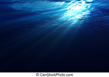 Beams of sunlight penetrate and shine through the water's surface. This scene is computer generated.