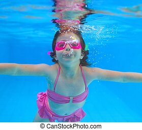 underwater little girl pink bikini blue swimming pool -...