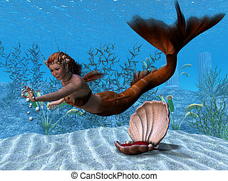 Underwater Mermaid - A beautiful mermaid reaches out to play...