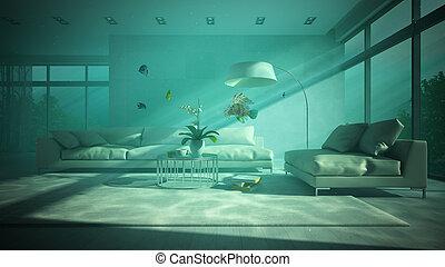 Underwater modern interior 3D rendering