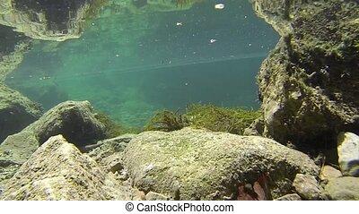 Underwater mountain river