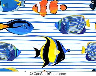 underwater, muster, fische, seamless, streifen, hintergrund., blasen