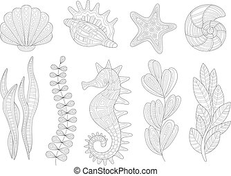 Underwater Nature Set Adult Zentangle Coloring Book Illustration
