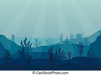 Underwater ocean scene. Deep blue water, coral reef and underwater plants. Marine sea bottom silhouette with seaweed, algae and coral. Vector illustration background.