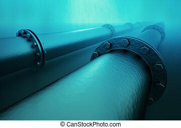 Underwater pipeline. - Pipeline beneath the ocean. Pipeline...