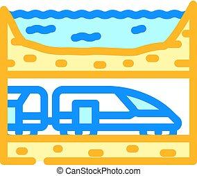 underwater railway tunnel color icon vector illustration