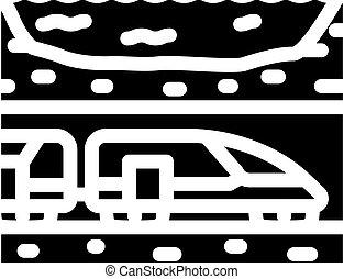underwater railway tunnel glyph icon vector illustration