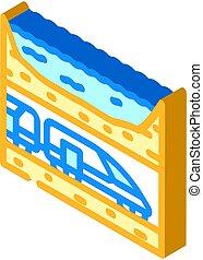 underwater railway tunnel isometric icon vector illustration