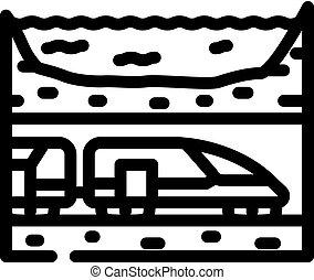 underwater railway tunnel line icon vector illustration
