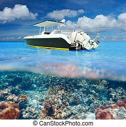 underwater, riff, koralle, motor, sandstrand, boot, ansicht